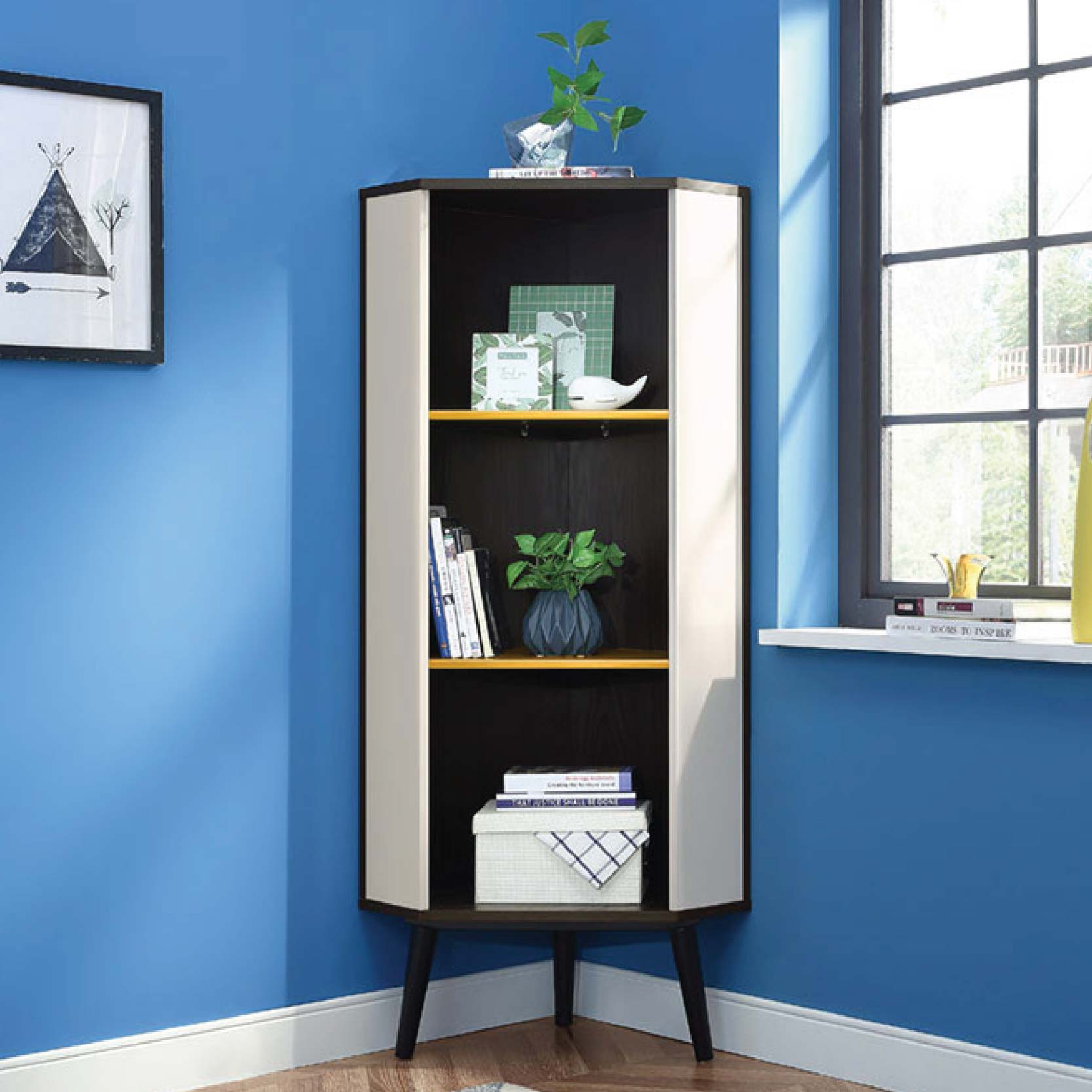enzo corner space saving cabinet mumu living. Black Bedroom Furniture Sets. Home Design Ideas