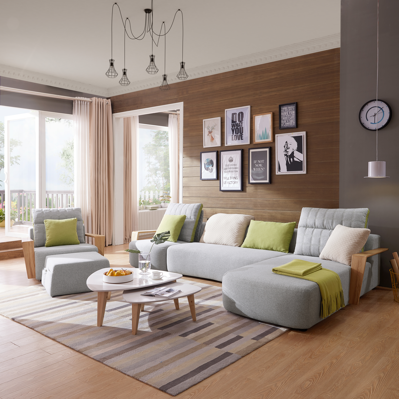 sectional fabric rixton modern divani casa chaise mb bed sofa grey