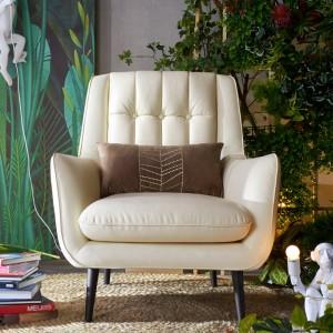 Zahara Beige White Leather Armchair