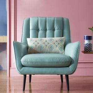 Zahara Mint Blue Leather Armchair